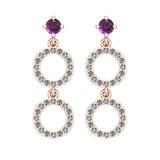 1.04 Ctw VS/SI1 Amethyst And Diamond 10K Rose Gold Dangling Earrings