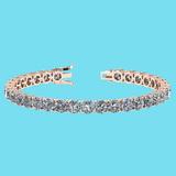 Certified 14.85 Ctw SI1/I2 Diamond Ladies Fashion 18K Rose Gold Tennis Bracelet