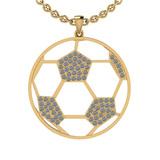 1.02 Ctw SI2/I1 Diamond 14K Yellow Gold Football Pendant