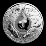 2017 Canada 1 oz Silver Underwater Life 3D Water Droplet
