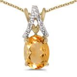 14k Yellow Gold Oval Citrine And Diamond Pendant