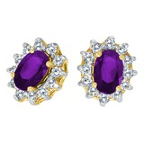 14k Yellow Gold Oval Amethyst and .25 total CTW Diamond Earrings 0.9 CTW