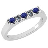 0.34 Ctw SI2/I1 Blue Sapphire And Diamond 14K White Gold Band Ring