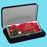 4 oz Silver Colorized Bar - Merry Christmas Decorative Garland