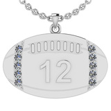 0.35 Ctw SI2/I1 Diamond 14K White Gold Football Rugby Necklace