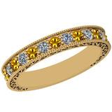 0.83 Ctw VS/SI1 Yellow Sapphire And Diamond 14K Yellow Gold Filigree Style Band Ring