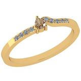 0.15 Ct Natural Yellow Diamond I2/I3And White Diamond I2/I3 10K Yellow Gold Vintage Style Ring