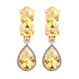 6.79 Ctw VS/SI1 Citrine And Diamond 10K Rose Gold Dangling Earrings