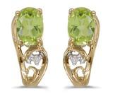 10k Yellow Gold Oval Peridot And Diamond Earrings 0.81 CTW