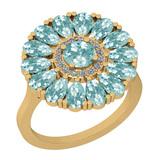 2.86 Ctw I2/I3 Aquamrine And Diamond 14K Yellow Gold Flower Ring