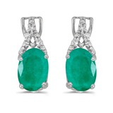 14k White Gold Oval Emerald And Diamond Earrings 1.14 CTW