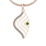 0.18 Ctw VS/SI1 Peridot And Diamond 10K Rose Gold Necklace