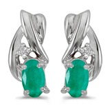 14k White Gold Oval Emerald And Diamond Earrings 0.34 CTW