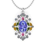 12.10 Ctw SI2/I1 Multi Sapphire,Tanzanite And Diamond 14K White Gold Necklace