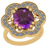 8.86 Ctw VS/SI1 Amethyst And Diamond 14k Yellow Gold Victorian Style Ring
