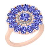 2.86 Ctw I2/I3 Tanzanite And Diamond 14K Rose Gold Flower Ring