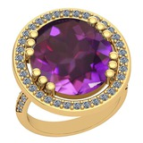 22.26 Ctw VS/SI1 Amethyst And Diamond 14k Yellow Gold Victorian Style Ring