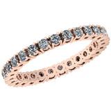 0.94 Ctw VS/SI1 Diamond 14K Rose Gold Band Ring
