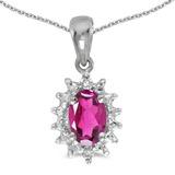14k White Gold Oval Pink Topaz And Diamond Pendant