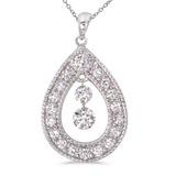 14K White Gold Dashing Diamonds Pendant