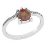 1.31 Ct Natural Salt Pepper Diamond I2/I3And White Diamond I2/I3 18k White Gold Anniversary Ring