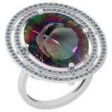 12.01 Ctw VS/SI2 Mystic Topaz And Diamond 14k White Gold Vingate Style Ring