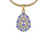1.15 Ctw VS/SI1 Tanzanite And Diamond 14K Yellow Gold Pendant Necklace