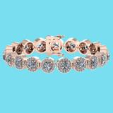 Certified 6.17 Ctw SI1/I2 Diamond Ladies Fashion 18K Rose Gold Bracelet
