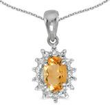 14k White Gold Oval Citrine And Diamond Pendant