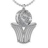0.58 Ctw SI2/I1 Diamond 14K White Gold Basketball Necklace
