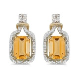 14k Yellow Gold Emerald-cut Citrine And Diamond Earrings 1.61 CTW