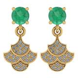 3.31 Ctw Emerald And Diamond I2/I3 14K Yellow Gold Earrings