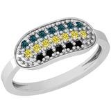 0.30 Ctw I1/I2 Treated Fancy Black ,Yellow,Blue Diamond 14K White Gold Ring