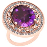 12.54 Ctw Amethyst And Diamond SI2/I1 14k Rose Gold Victorian Style Ring