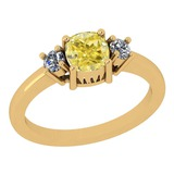 1.22 Ct GIA Certified Natural Fancy Yellow Diamond And White Diamond 18K Yellow Gold vintage Style R
