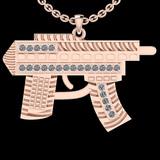 0.35 Ctw SI2/I1 Diamond 14K Rose Gold Gun Pendant