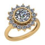 2.25 Ctw Diamond I2/I3 14K Yellow Gold Vintage Style Halo Ring