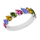 2.50 Ctw I2/I3 Multi Sapphire ,Tanzanite Style Prong Set 10K Yellow Gold Eternity Band Ring
