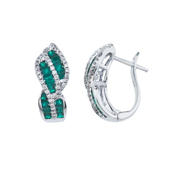 14k White Gold Emerald and Diamond Swirl Earring