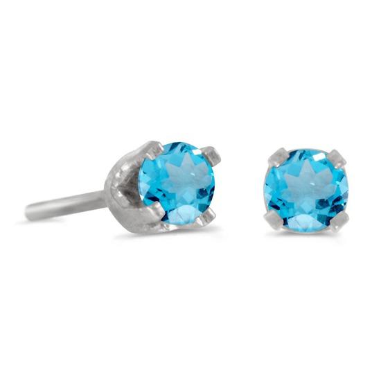 3 mm Petite Round Blue Topaz Stud Earrings in 14k White Gold 0.22 CTW