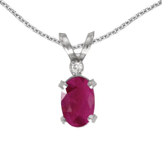 14k White Gold Oval Ruby And Diamond Filagree Pendant 0.37 CTW