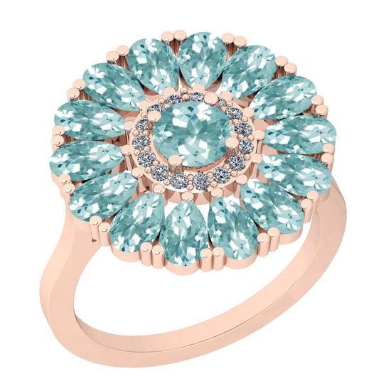2.86 Ctw I2/I3 Aquamrine And Diamond 14K Rose Gold Flower Ring