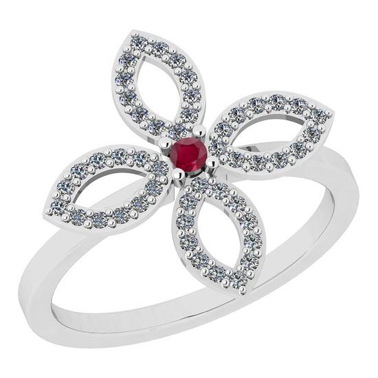 0.38 Ctw I2/I3 Ruby And Diamond 14K White Gold Ring