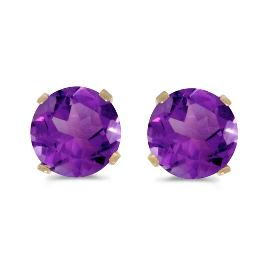 5 mm Natural Round Amethyst Stud Earrings Set in 14k Yellow Gold 0.78 CTW