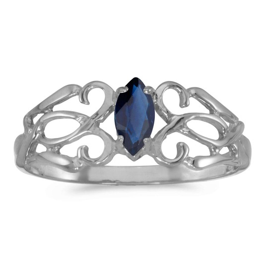10k White Gold Marquise Sapphire Filagree Ring 0.21 CTW