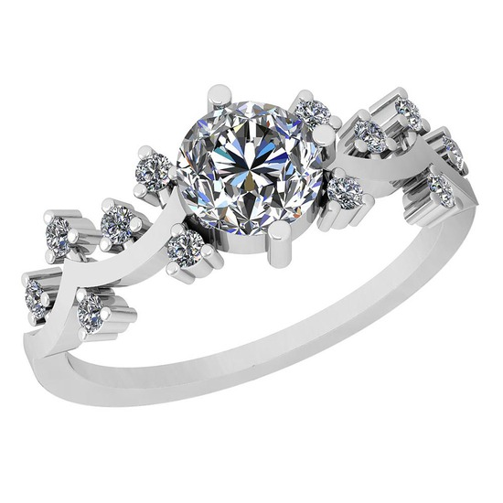 0.96 Ctw Diamond I2/I3 14K White Gold Vintage Style Ring