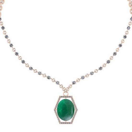 13.01 Ctw VS/SI1 Emerald And Diamond 14k Rose Gold Victorian Style Necklace