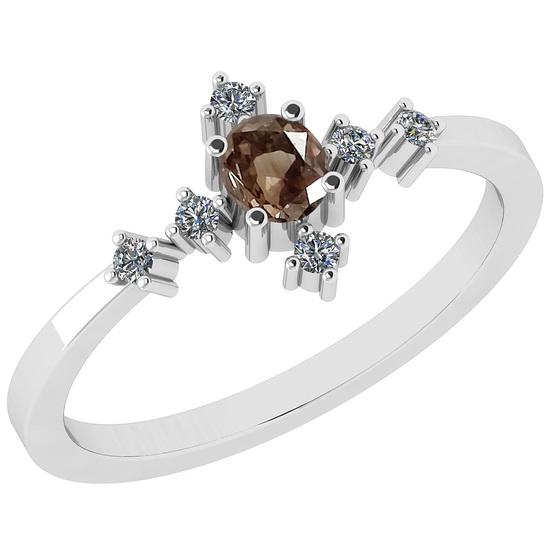 0.34 Ct Natural Brown Diamond I2/I3And White Diamond I2/I3 18k White Gold Anniversary Ring