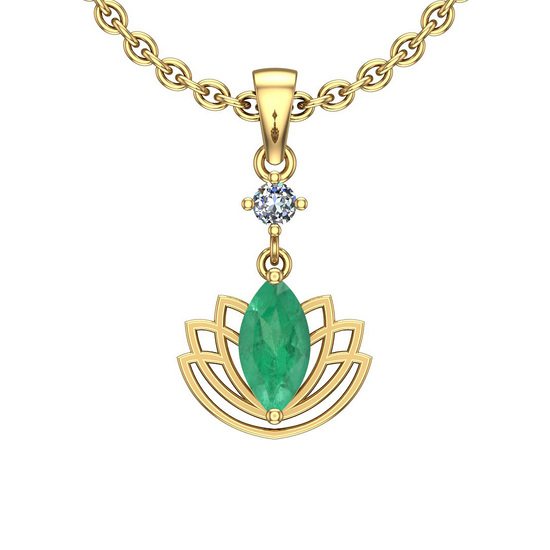 1.32 Ctw VS/SI1 Emerald And Diamond 14K Yellow Gold