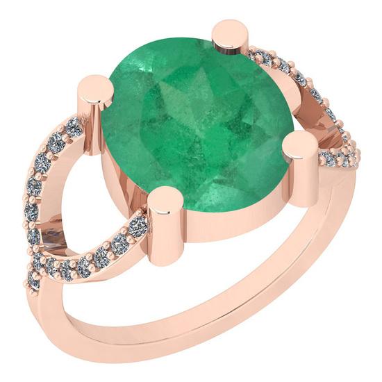 2.77 Ctw I2/I3 Emerald And Diamond 14K Rose Gold Ring